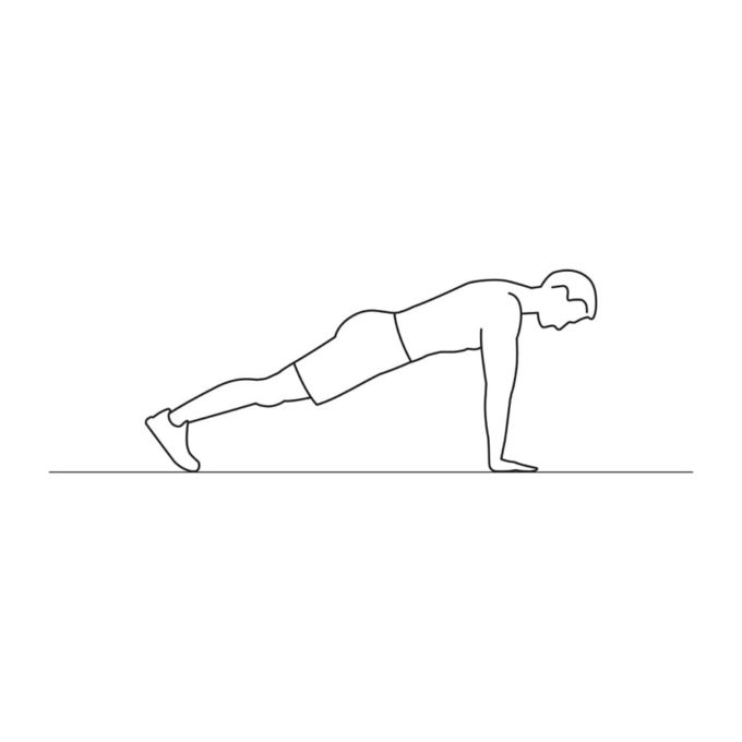 Fitness vector illustration showing alt arm plank exercise