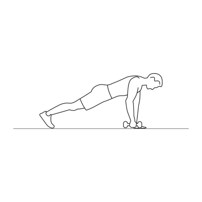 Fitness vector illustration showing dumbbell plank row exercise