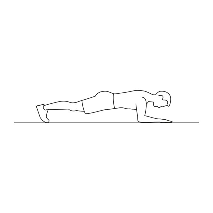 Fitness vector illustration showing elbow plank exercise