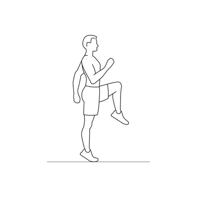 Fitness vector illustration showing high knees exercise