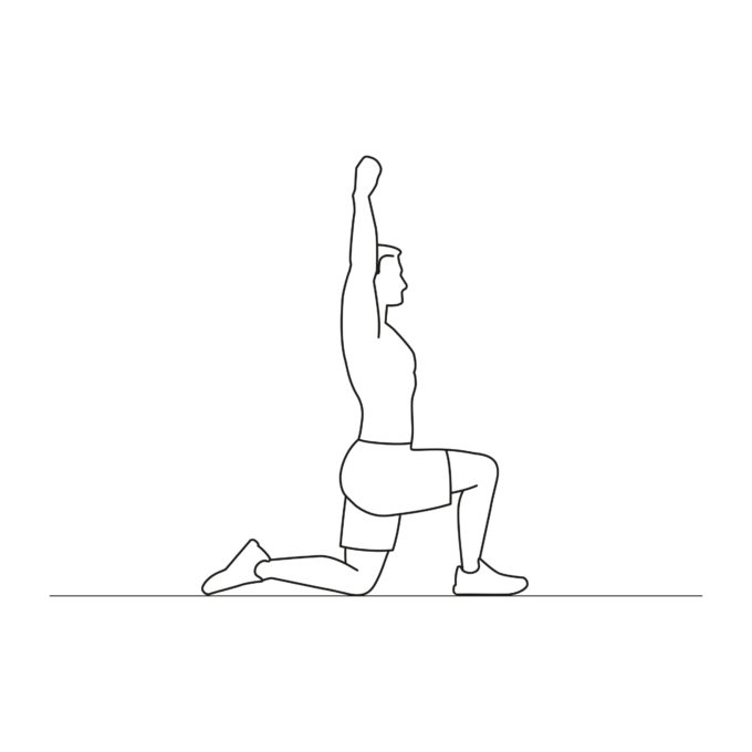 Fitness vector illustration showing hip flexor stretch exercise