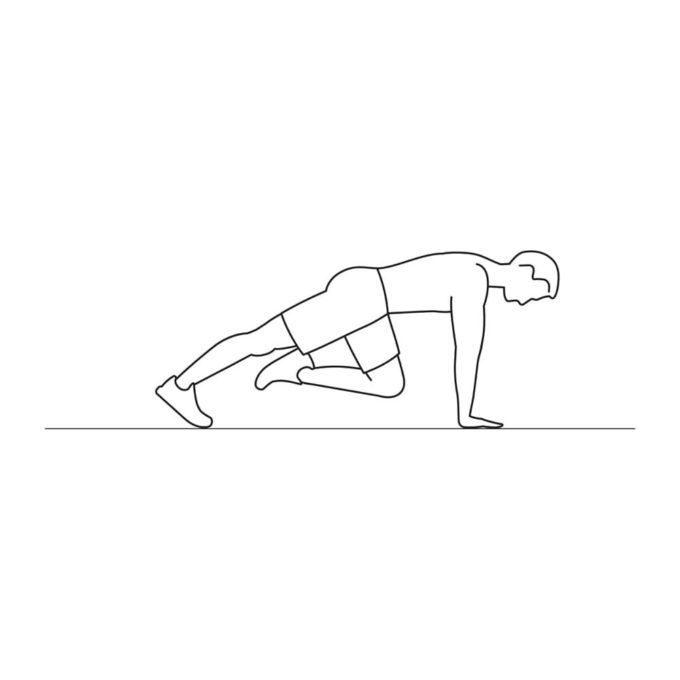 Fitness vector illustration showing mountain climber exercise