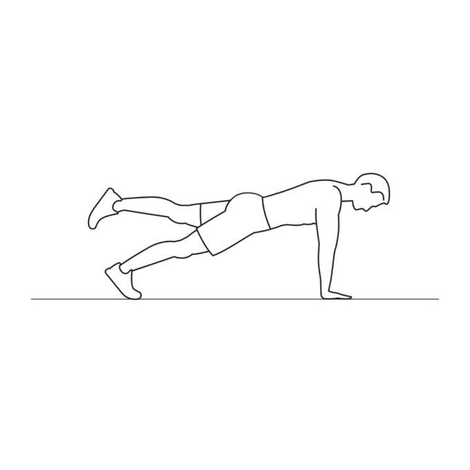 Fitness vector illustration showing plank leg raises exercise
