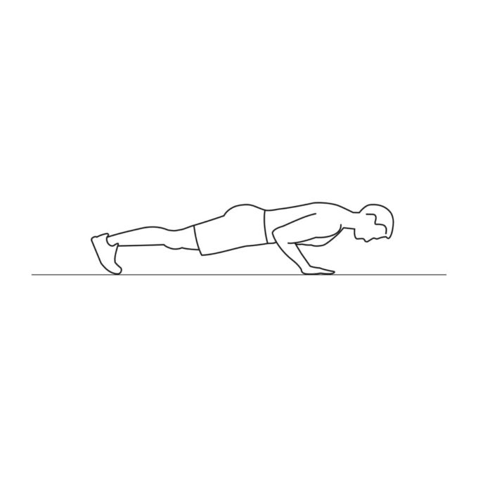Fitness vector illustration showing push ups exercise