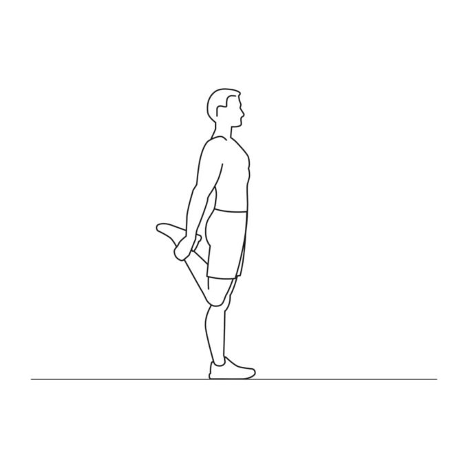 Fitness vector illustration showing quad stretches exercise