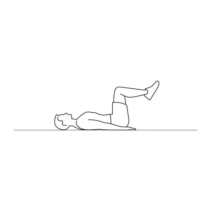 Fitness vector illustration showing reverse crunch exercise