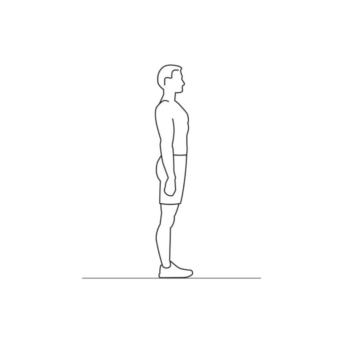 Fitness vector illustration showing squats exercise standing straight
