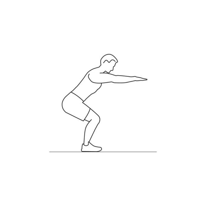 Fitness vector illustration showing squats exercise