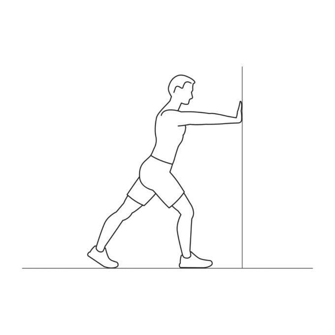Fitness vector illustration showing wall stretching exercise
