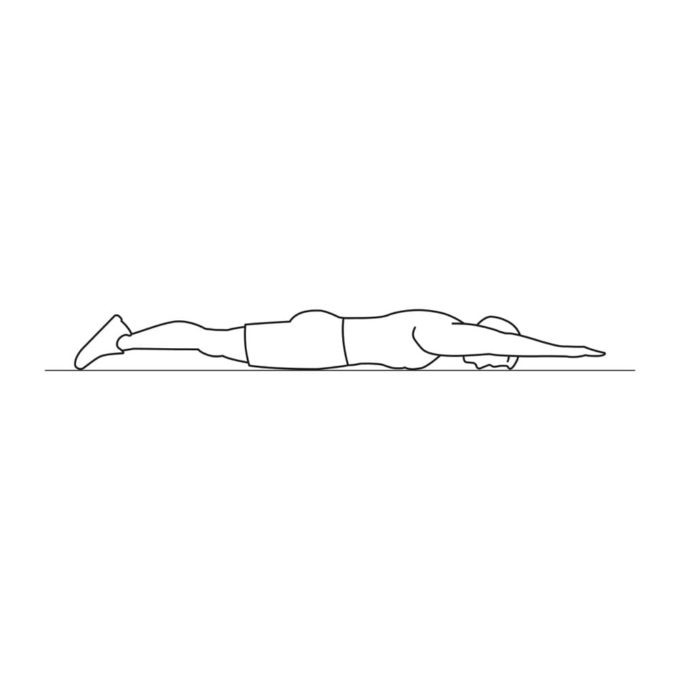 Fitness vector illustration showing superman exercise