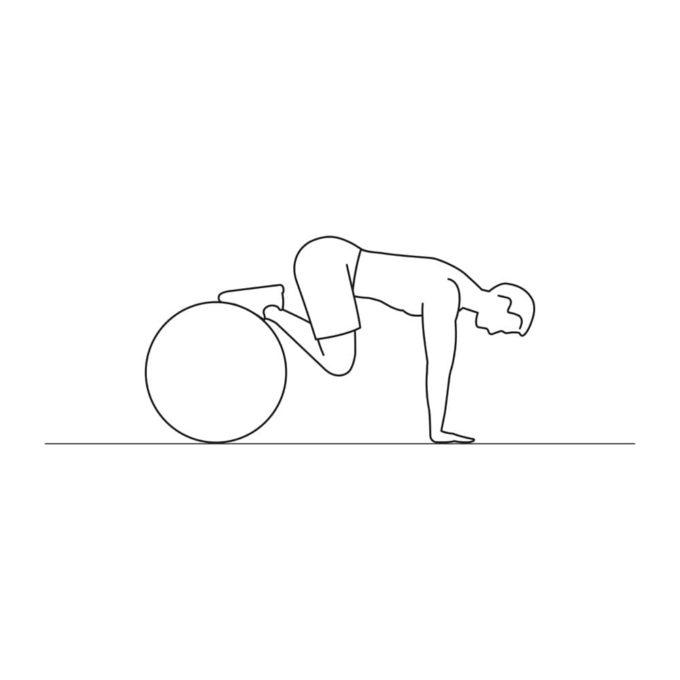Fitness vector illustration showing swiss ball knee tuck exercise