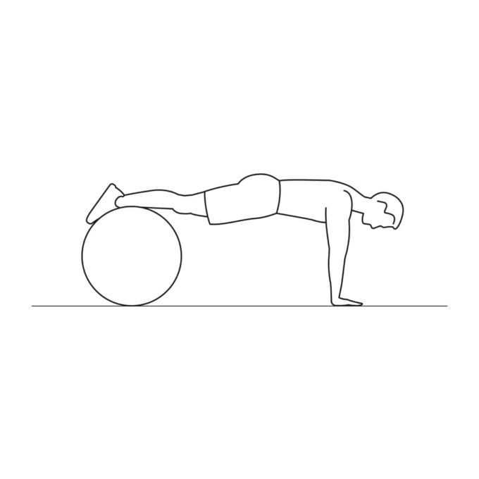 Fitness vector illustration showing swiss ball push ups exercise
